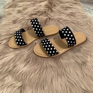 Sunny Feet Shoes - Black & White Polka Dot Flat Sandals